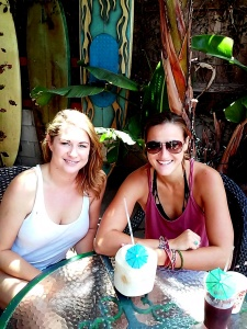 Amanda & Kelly enjoy a chilled coconut while I enjoy my iced coffee.