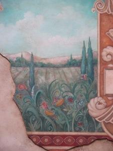 Italian mural in the back courtyard