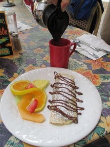 Half of our Nutella crepe!