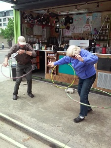 Where else can you enjoy great coffee and hula hoop?