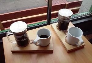 Hawthorne coffee is served in individual glass pots to pour at your pleasure.