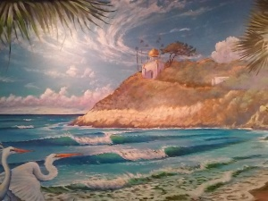 Kevin Anderson's mural at the W. Point Loma Swami's